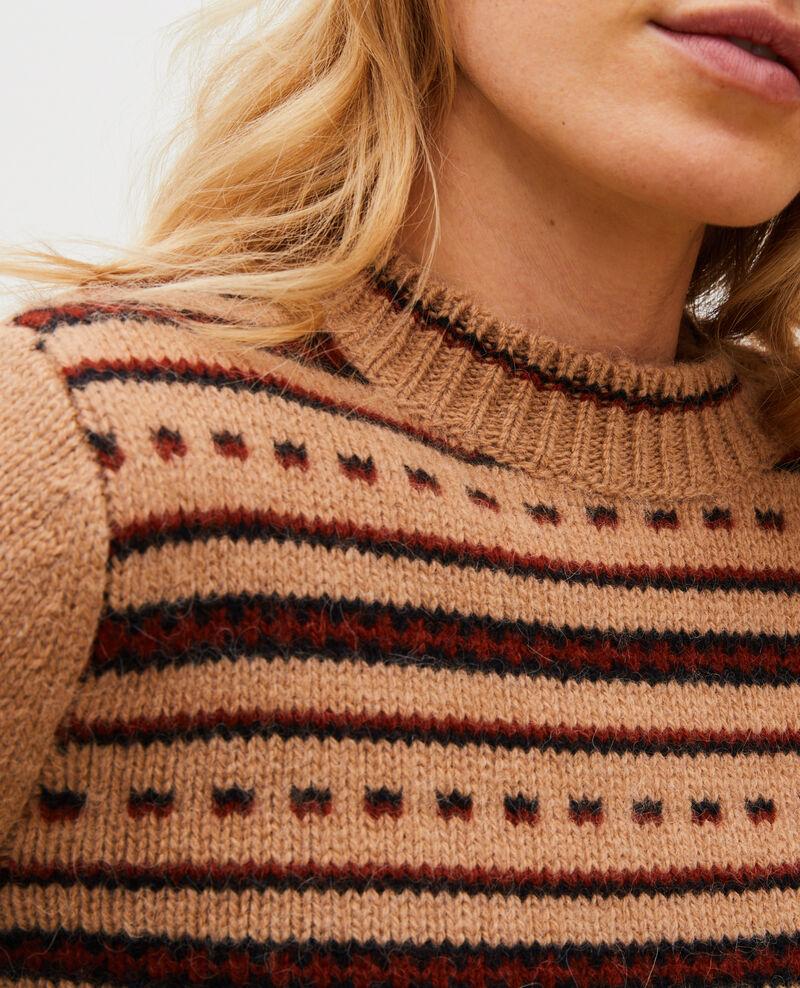 Jersey jacquard sin mangas de lana alpaca con cuello redondo Jacquard taupe black brandybrown Marolette