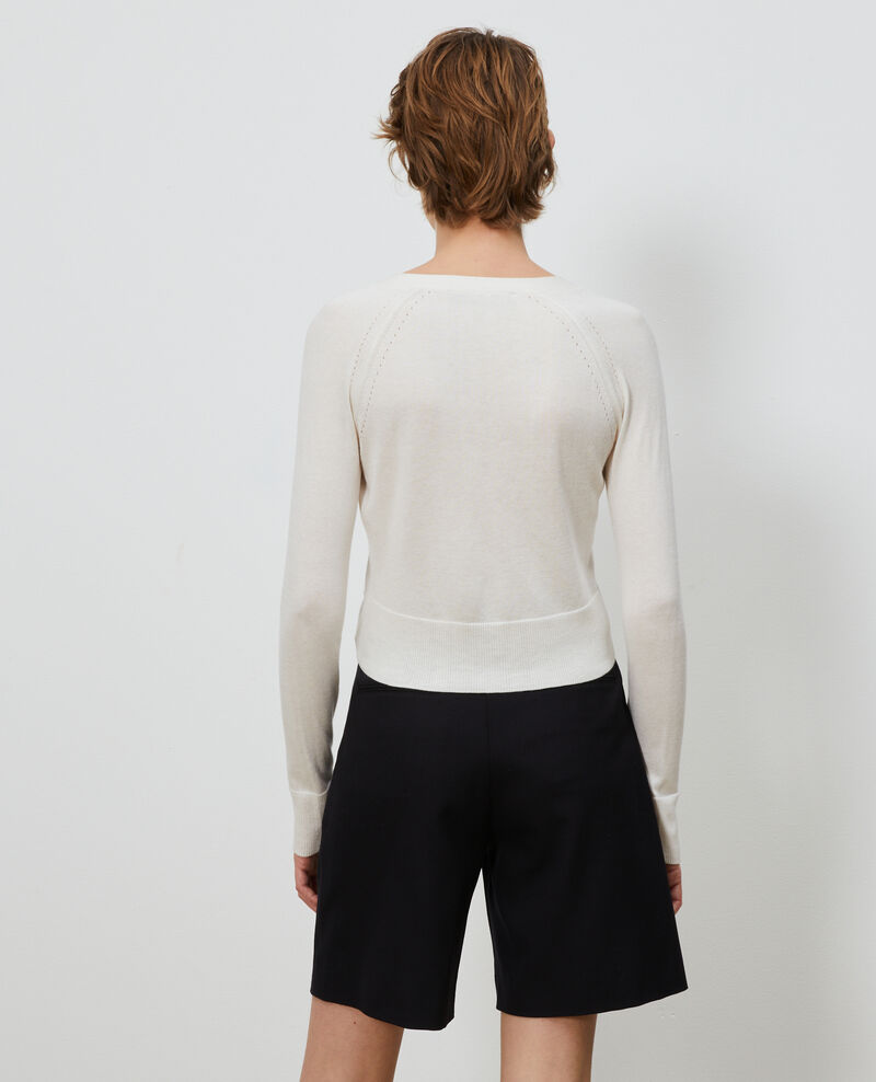 Cárdigan corto de algodón y seda Gardenia Nouma
