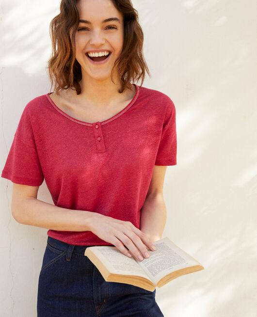Camiseta efecto brillante de lino FUSHIA