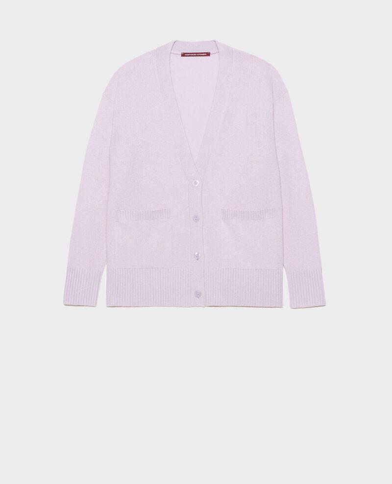Cárdigan de cachemir con cuello de pico abierto en los lados Pastel lilac Moleano