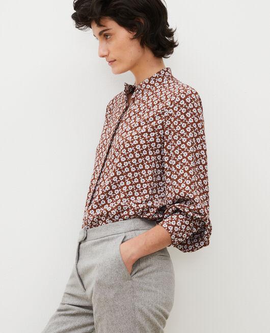 Blusa con manga larga y estampado floral PRINT FLEURETTES TORTOISE SHELL