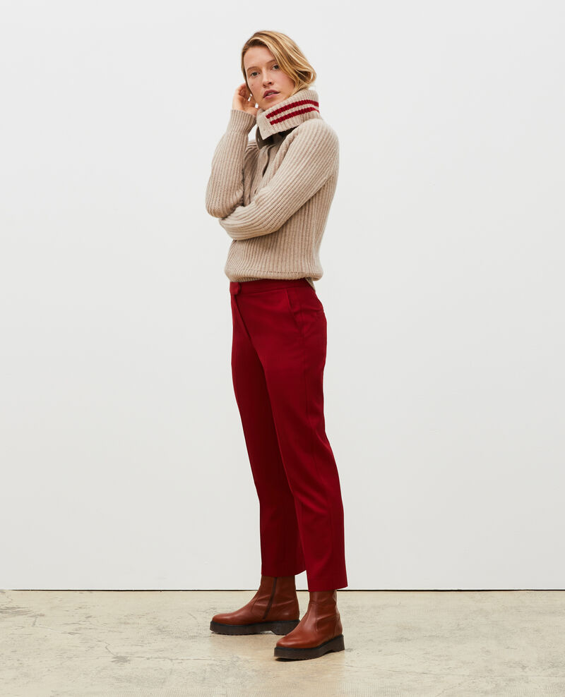 Jersey ancho cuello alto con cremallera de lana Latte Marsani