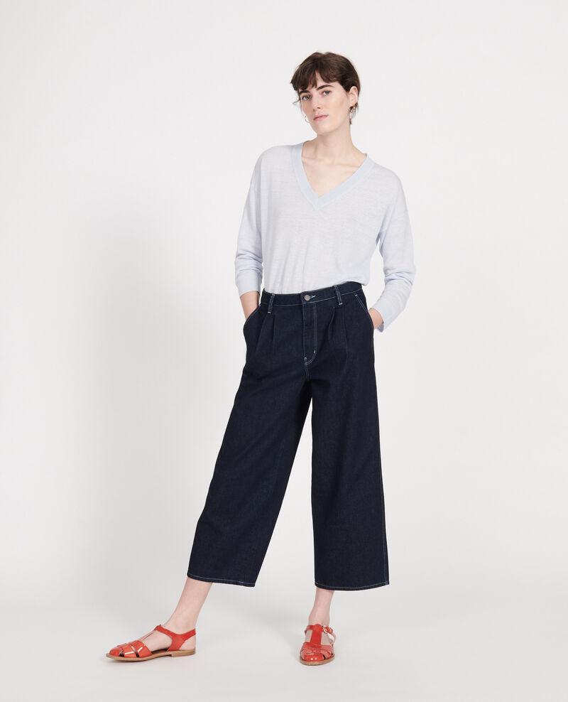 Jersey con cuello de pico de lino y algodón Heather Leonotis