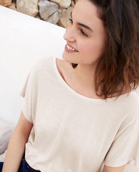 Comptoir des Cotonniers - T-shirt col V dans le dos  Off white - 3