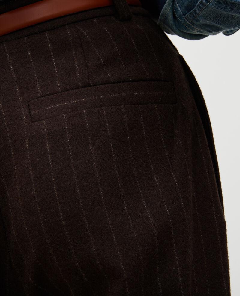 Pantalón YVONNE, ancho talle alto de lana Stripe coffee bean Mefari