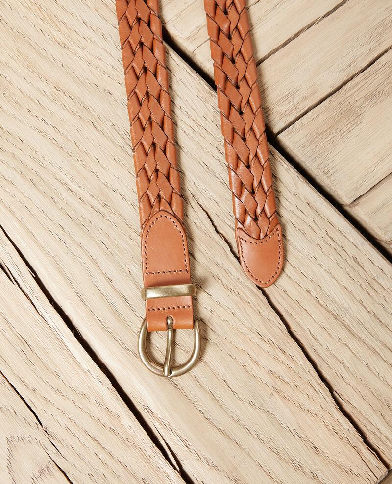 Cinturón trenzado de cuero Camel Jessai