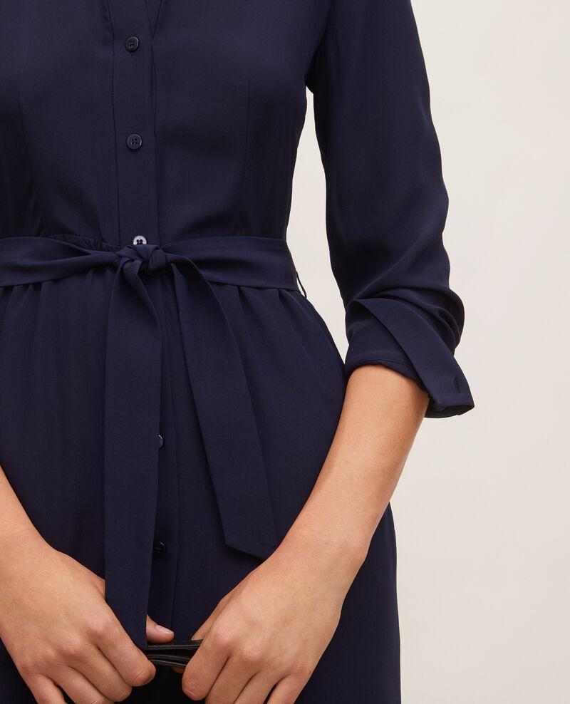 Vestido camisero de seda con cinturón y cuello redondo Maritime blue Lolita
