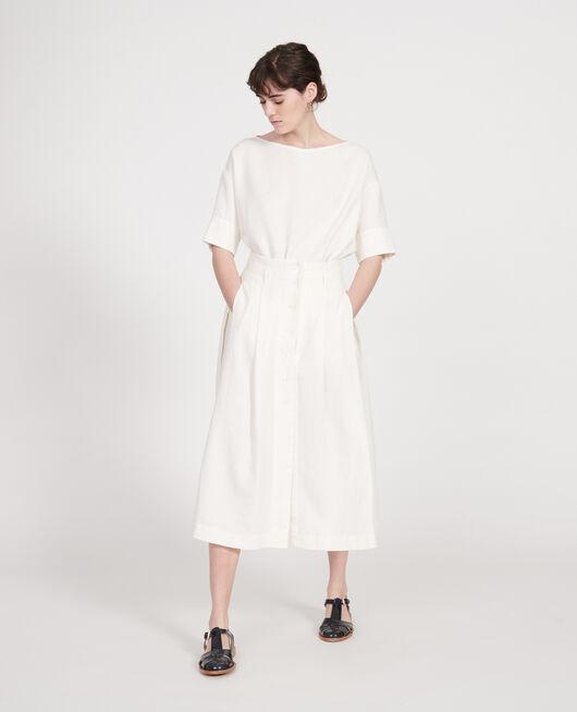 Falda larga de lino GARDENIA