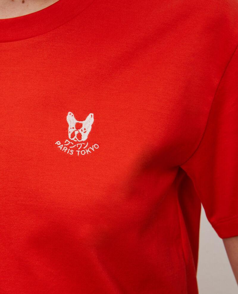 Camiseta bordada de algodón Spicy orange Nagano