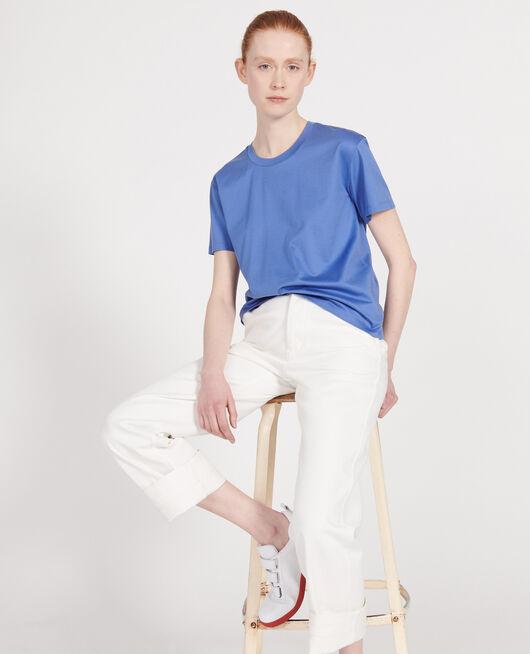 Camiseta de algodón con cuello redondo y manga corta AMPARO BLUE