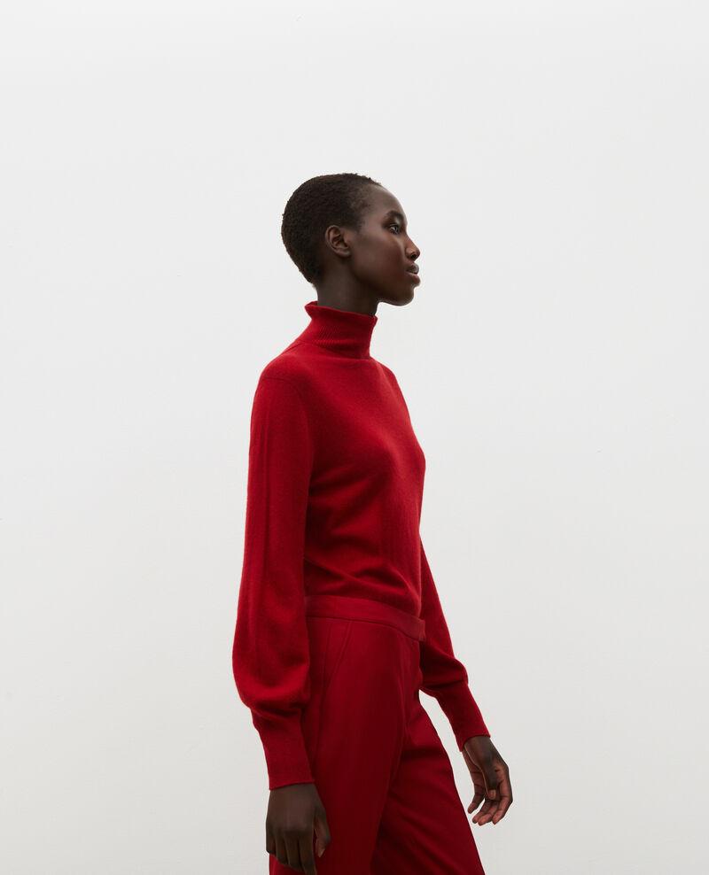 Jersey fino de cachemir 3D con cuello alto con cremallera Royale red Mane
