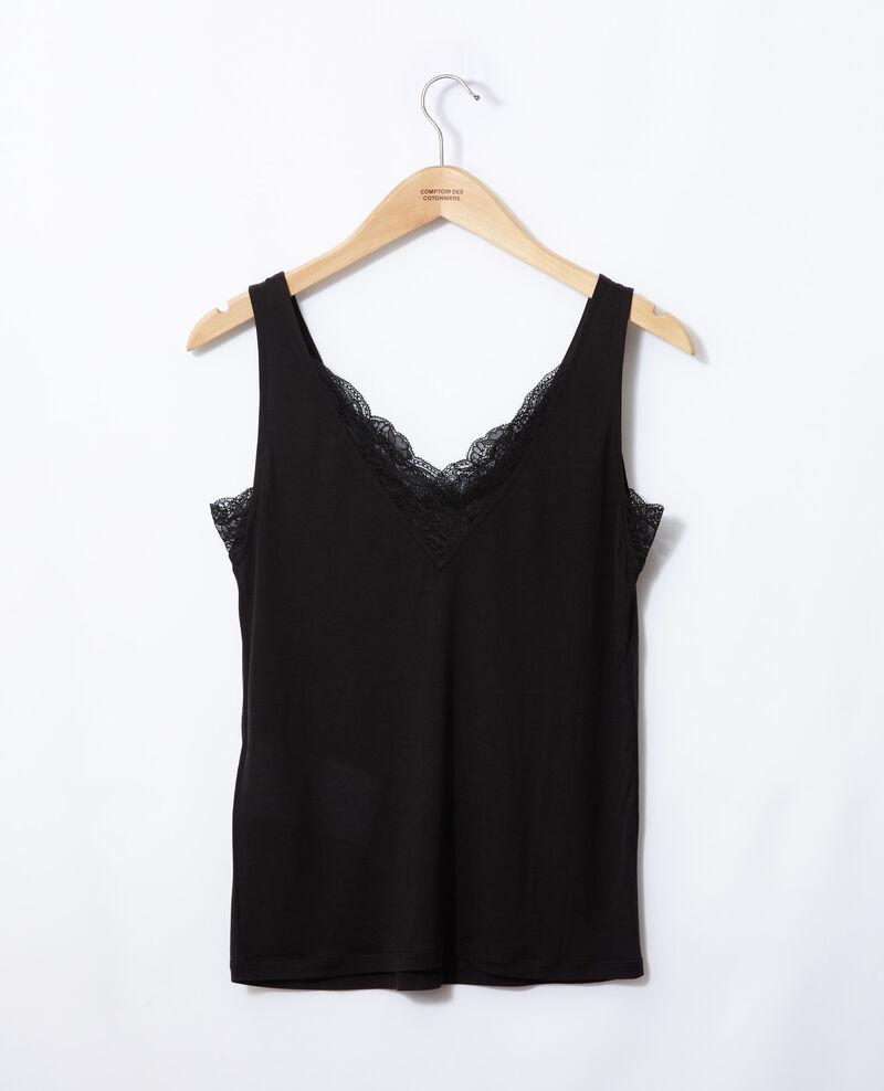 Camiseta de tirantes con encaje Noir Gaia