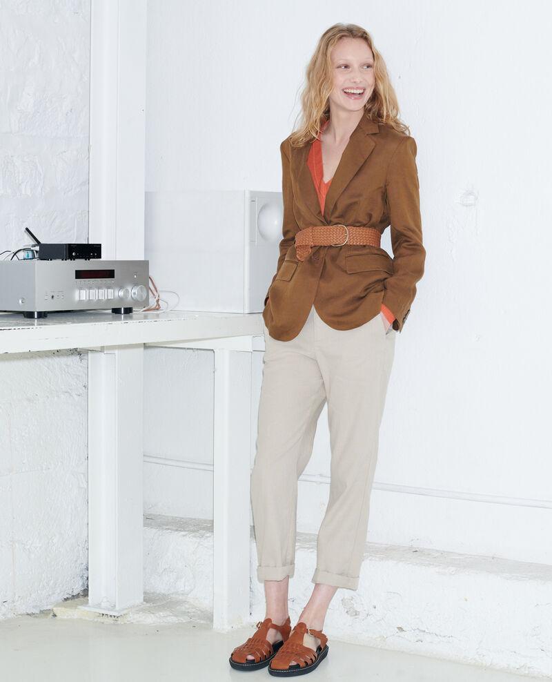 Pantalón de lino con longitud 7/8 Oxford tan Laiguillon