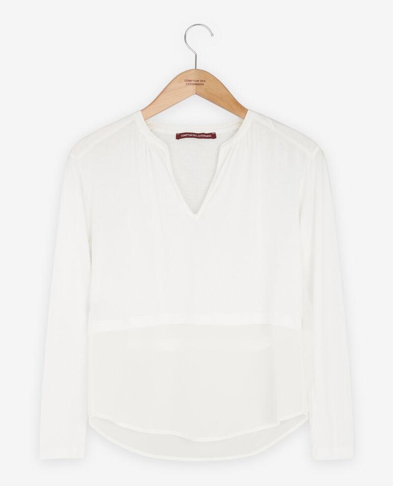 Camiseta de dos tejidos con seda White Fabio