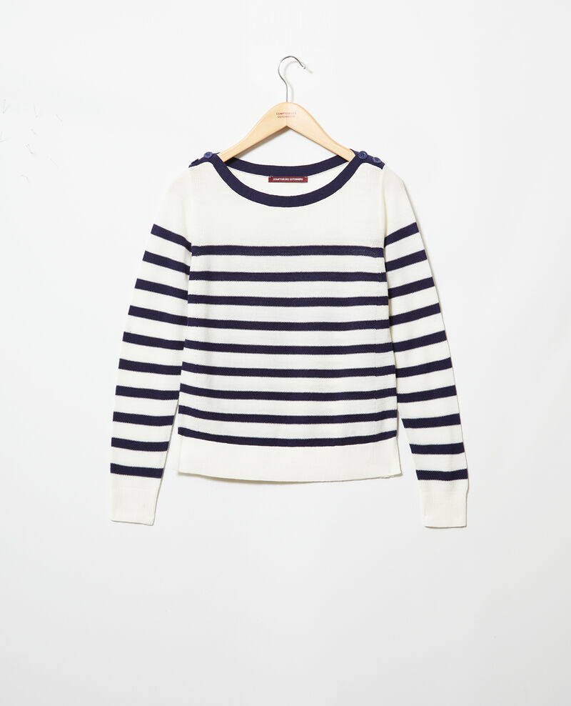 7bb15cd55 Jersey rayado de lana Off white navy - Ibateau