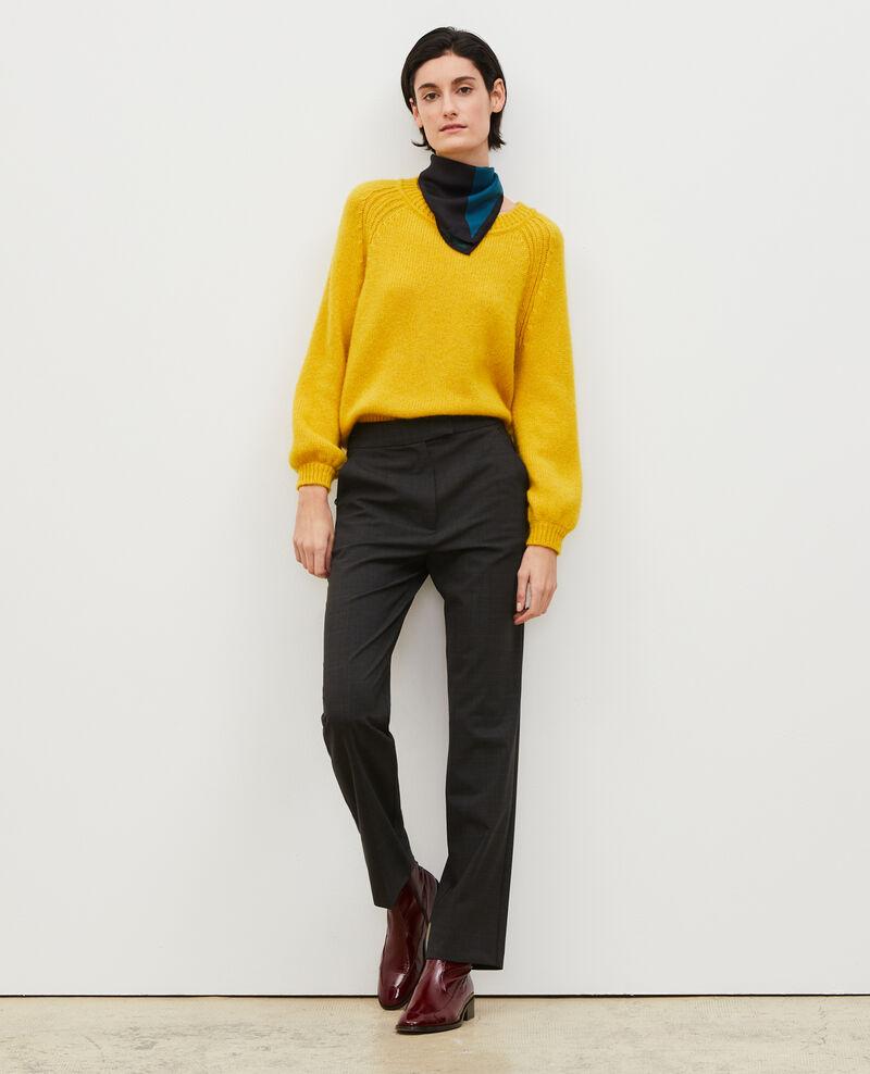 Pantalón MARCELLE, recto de lana príncipe de Gales Check-wool-pattern-tailoring Misabien