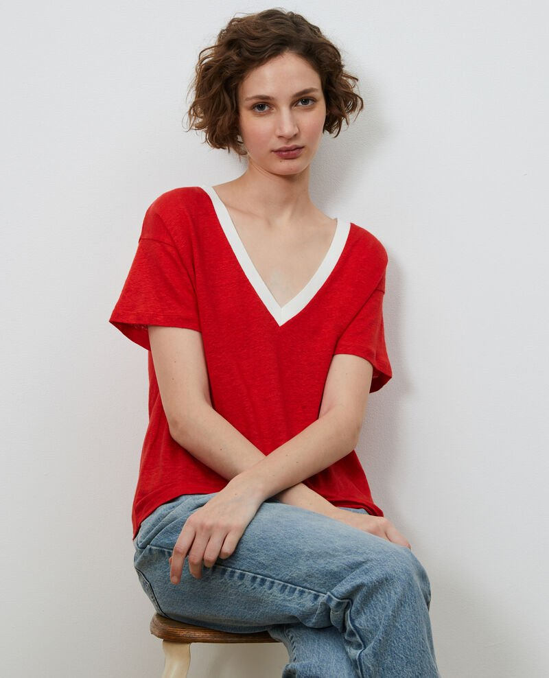 Camiseta de lino con cuello de pico Str fieryred gardenia Locmelar