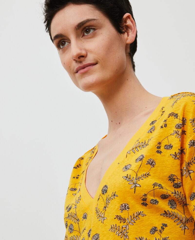 Camiseta de lino con cuello de pico Coronille gold Nayeli