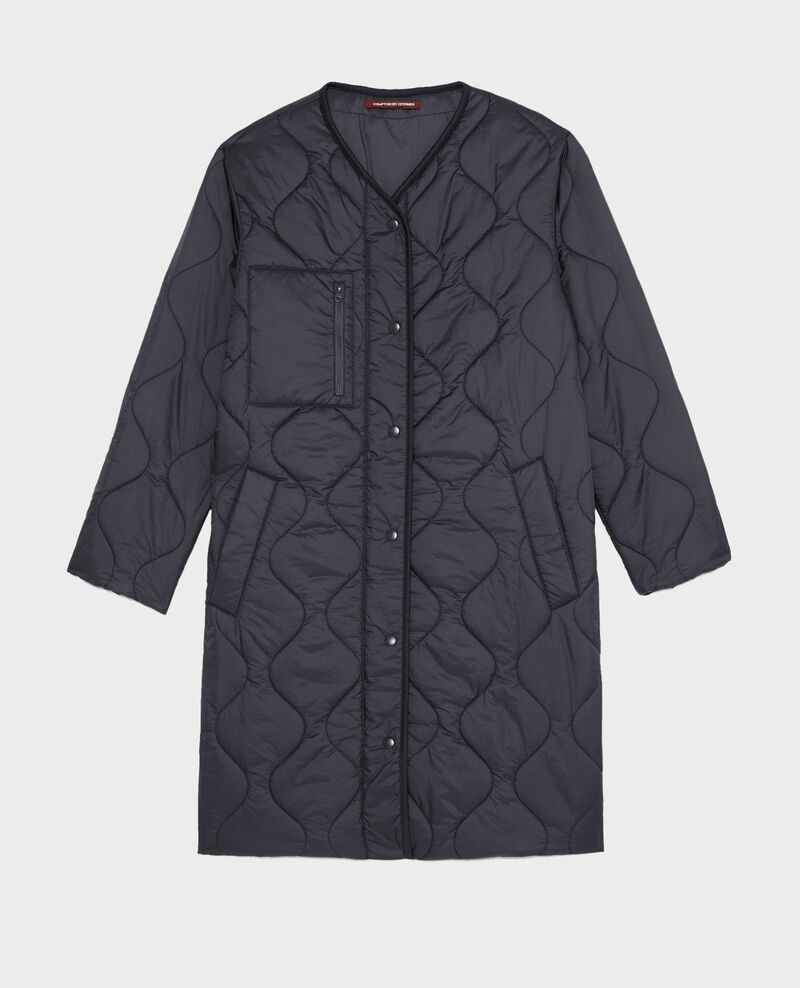 Abrigo plumas con cuello de pico  Black beauty Matoury