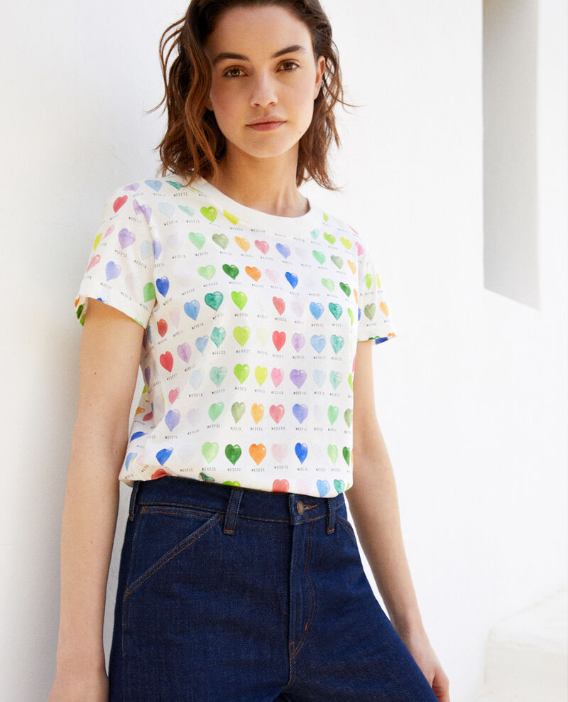 0bb9a0a7c22 Camiseta estampado de corazón Off white - Ilover