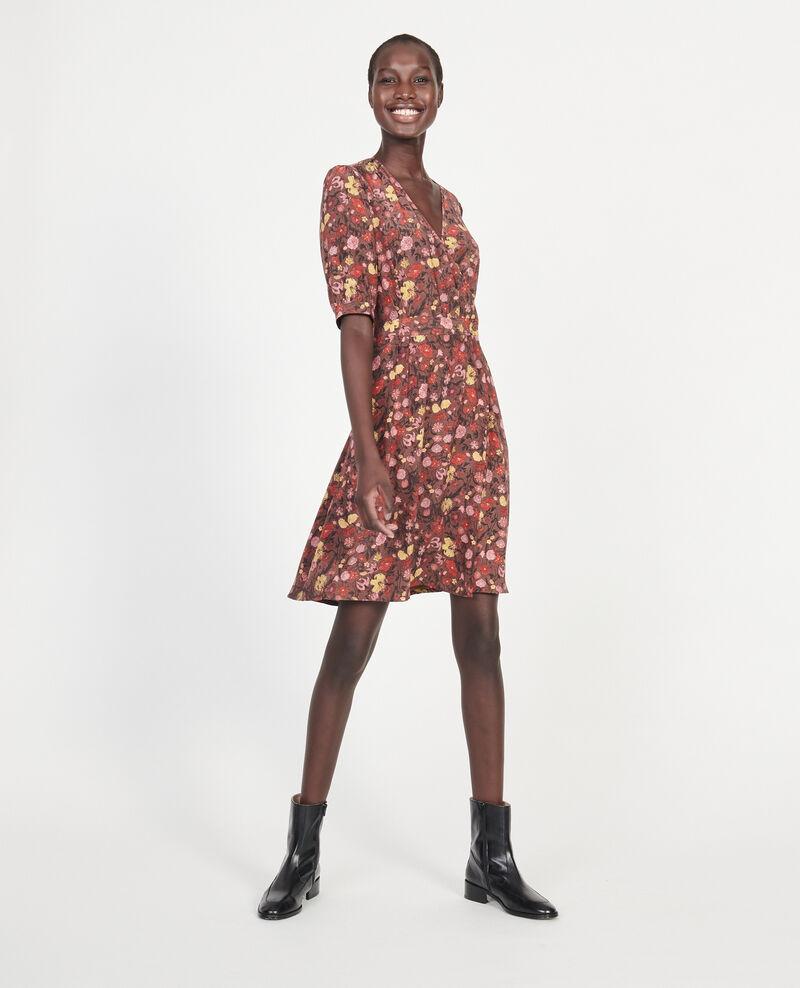 Vestido corto con escote cruzado de seda floral Print eden tortoiseshell Meanie