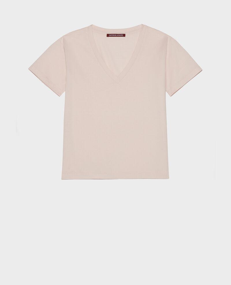 Camiseta de algodón con cuello de pico y manga corta Primrose pink Laberne