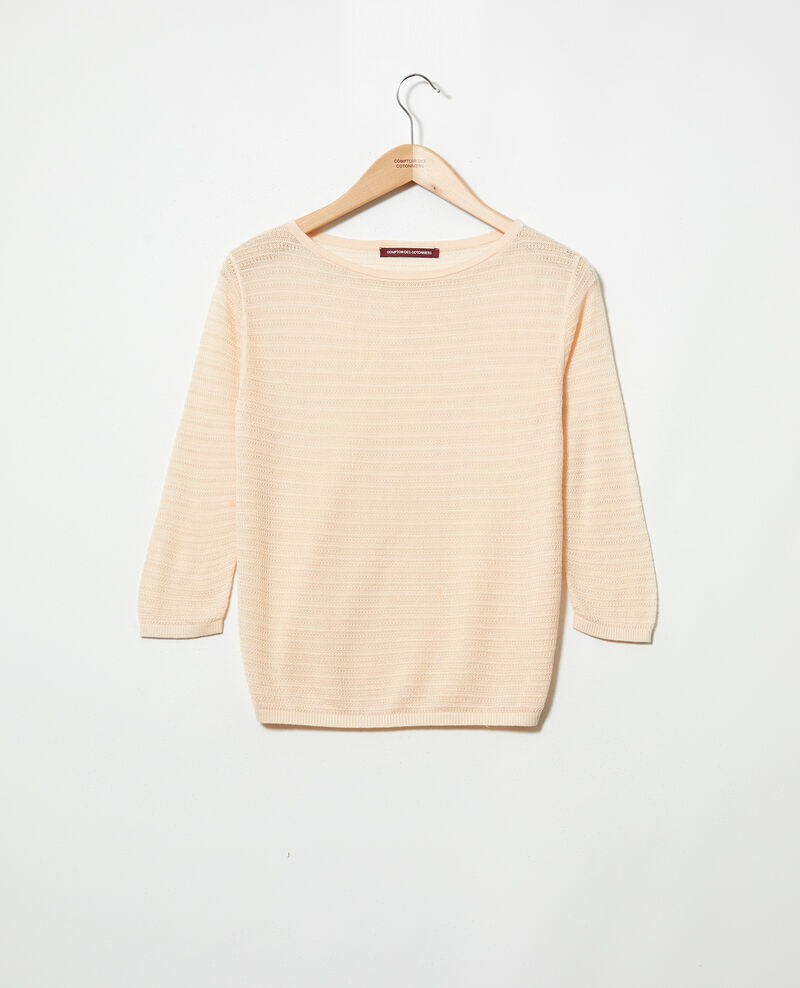 Pull en maille en coton et soie Light pink Iminette