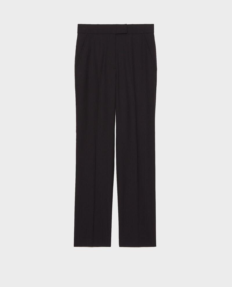 Pantalón MARCELLE, recto de lana estilo masculino Black beauty Misabelle