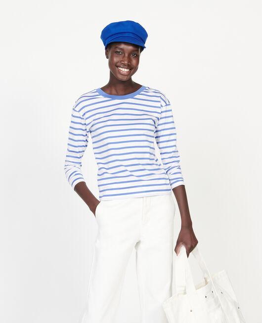 Camiseta de algodón egipcio STRIPES OPTICAL WHITE AMPARO BLUE