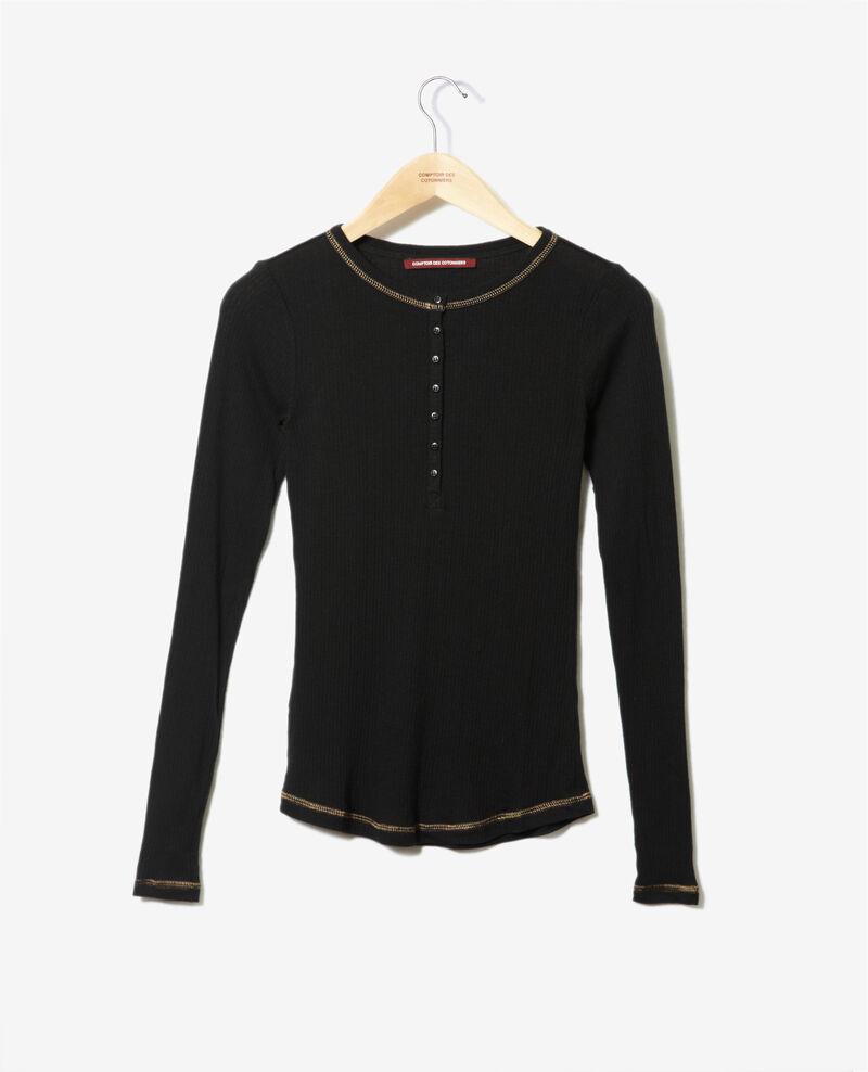 Camiseta con tira de botones Negro Grila