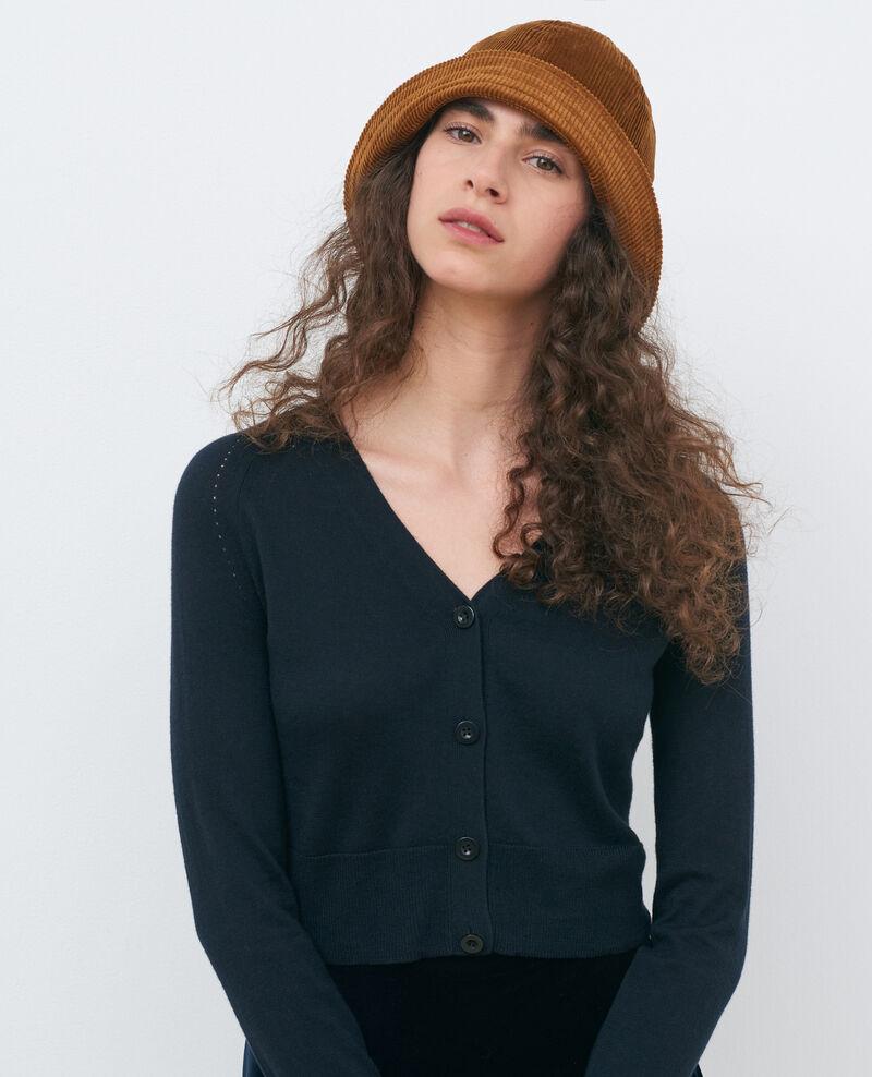 Cárdigan corto de algodón y seda Black beauty Nouma