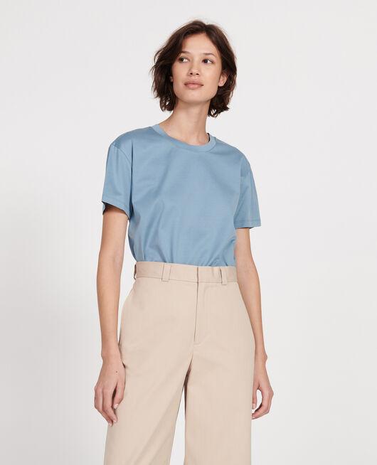 Camiseta de algodón con cuello redondo y manga corta BLUESTONE