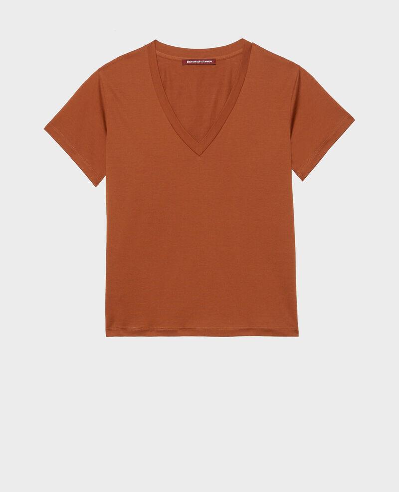 Camiseta de algodón con cuello de pico y manga corta Tortoise shell Laberne