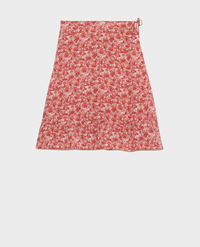 Falda cruzada corta de seda Art deco pink Palongue