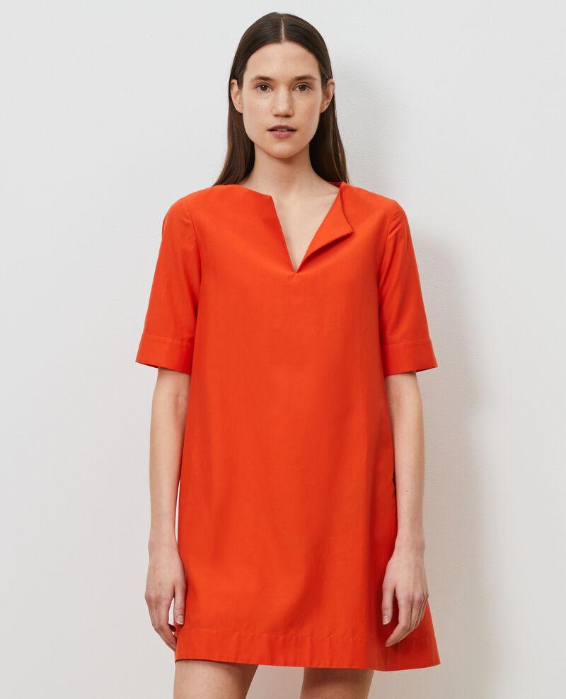 Vestido corto de algodón y seda Pureed pumpkin Nerniere