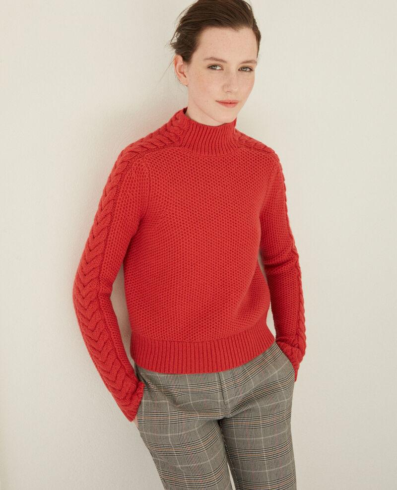 Jersey de lana con detalle de trenza Rojo Garouk