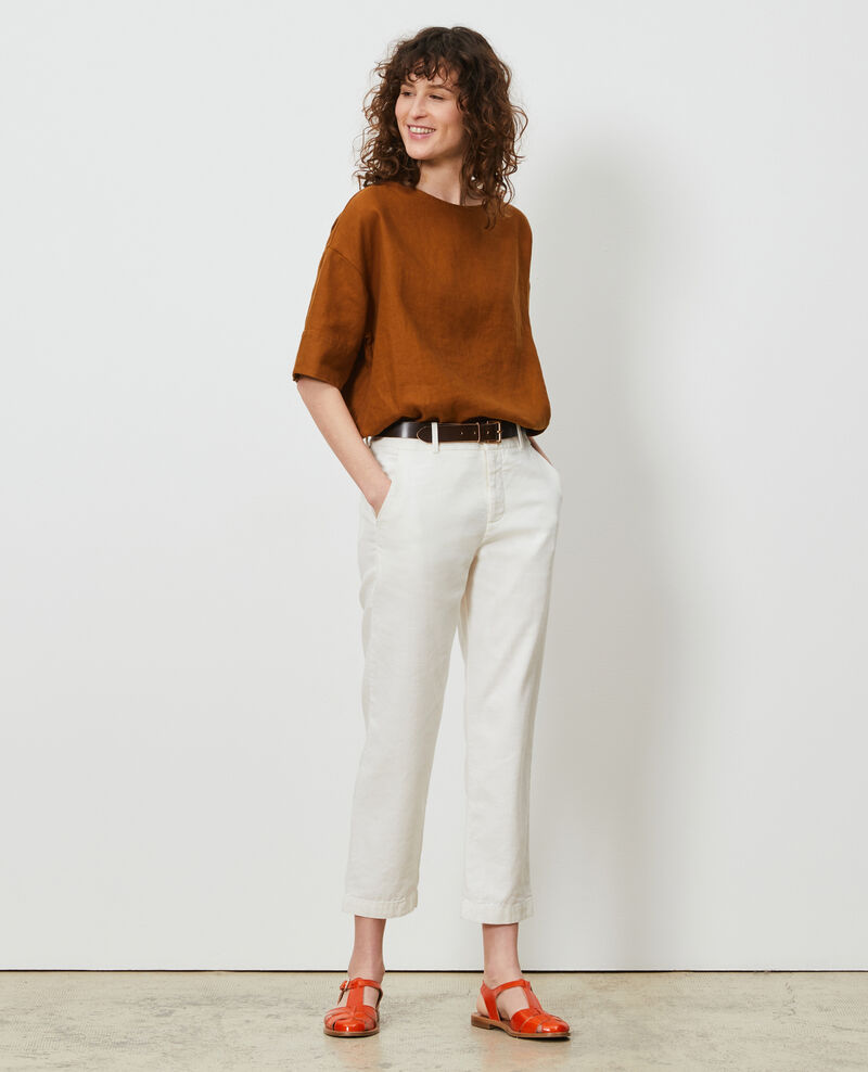 Pantalón MARGUERITE de lino y algodón con longitud 7/8 Gardenia Laiguillon