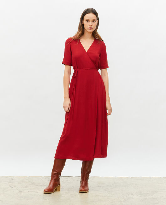 Falda cruzada larga de viscosa ROYALE RED