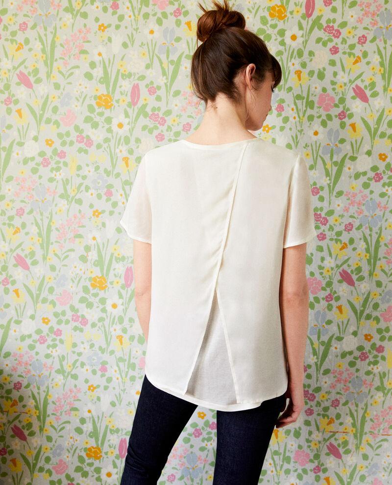 Camiseta de dos materiales Off white Jabelle