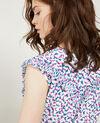 Vestido con escote cruzado de seda estampada Bubbles peony Demoiselle