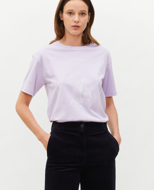 Camiseta amplio de algodón manga corta PASTEL LILAC