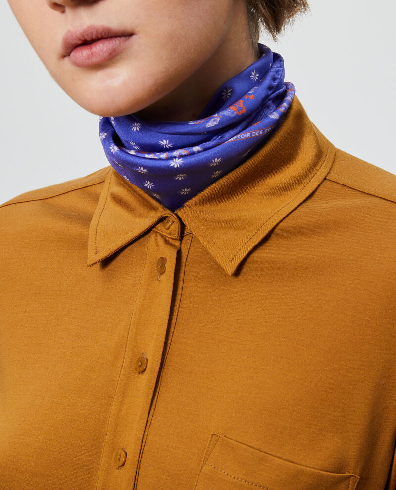 Camisa de punto jersey de seda Bronze brown Leanor