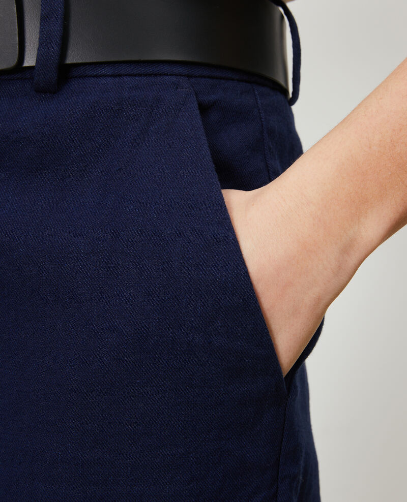 Pantalón de lino y algodón con longitud 7/8 Maritime blue Laiguillon