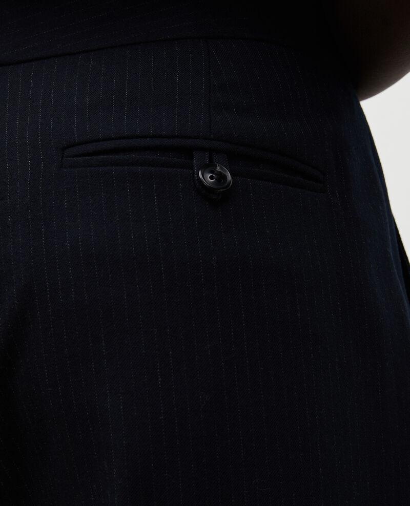 Pantalón MARCELLE, de traje de lana recto Night sky Misabeau
