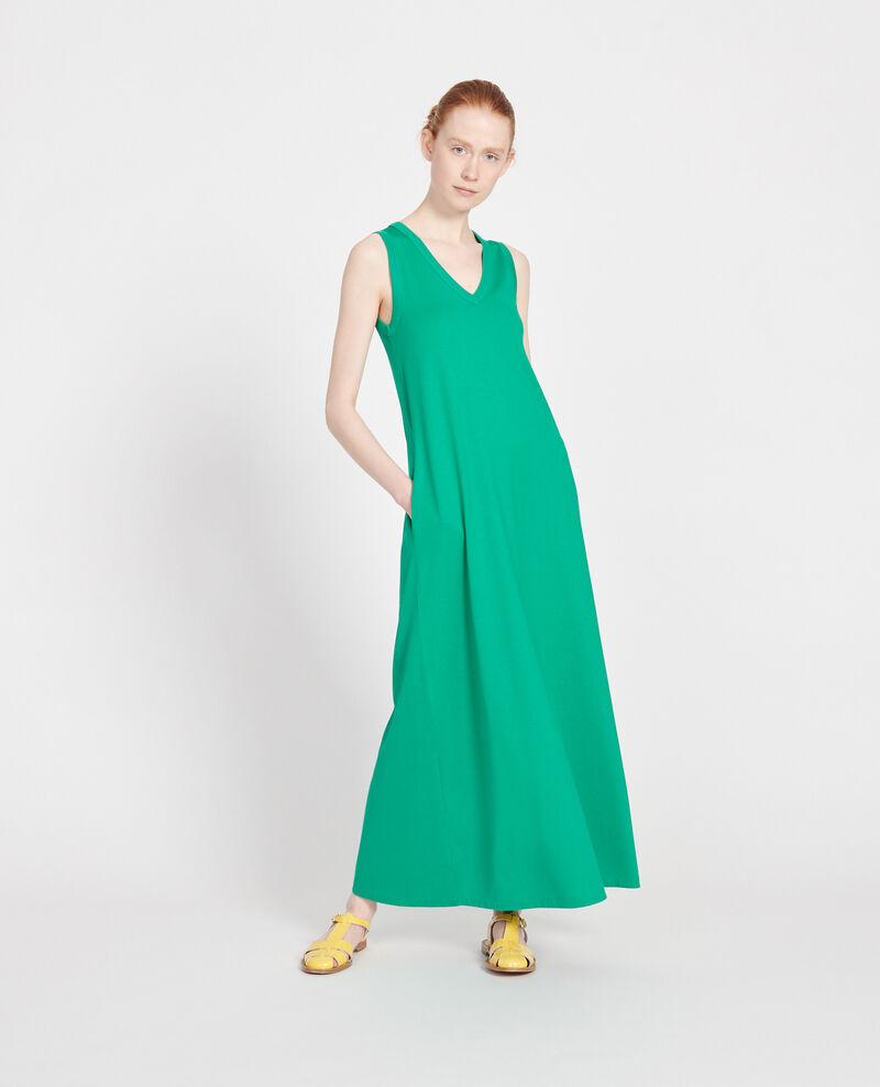 Vestido largo de algodón mercerizado Golf green Larosa