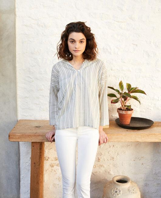 Camisa de cuello abierto  OFF WHITE/GREY