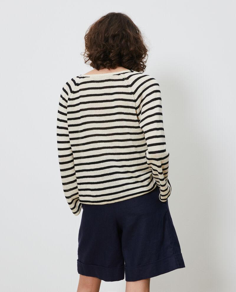 Jersey rayado de lino Stripes buttercream black Logron