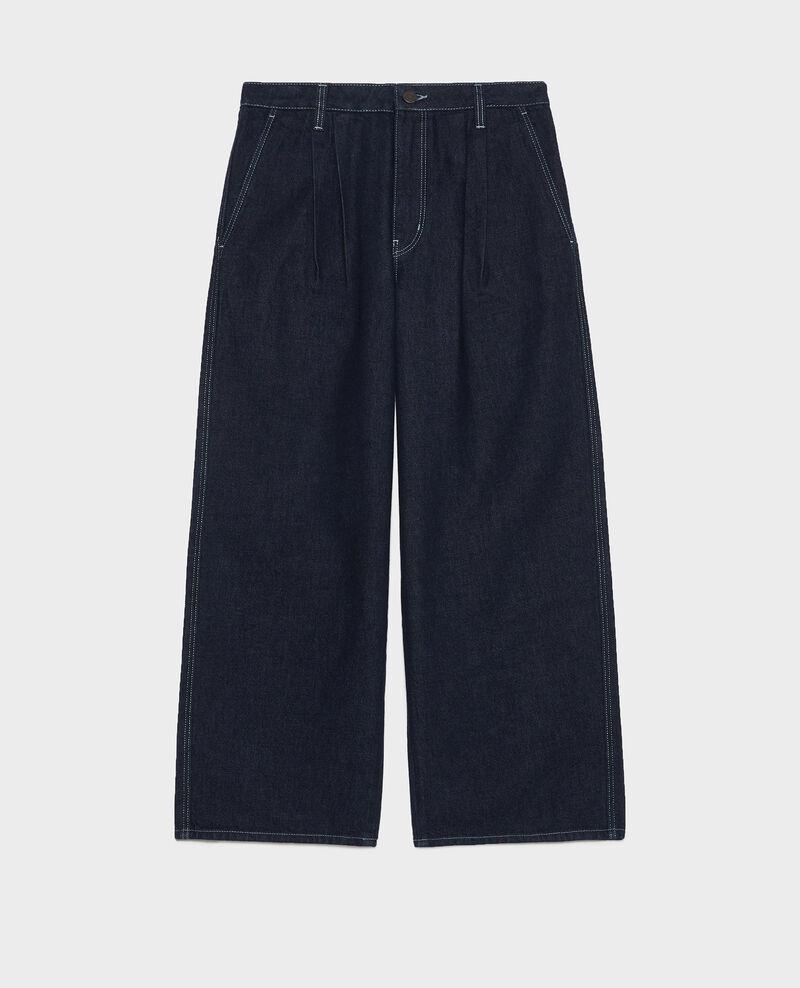 Jeans wide leg cropped en bruto Denim rinse Leandra