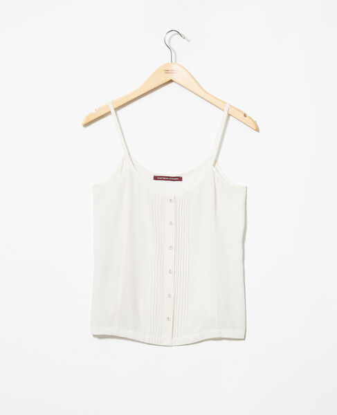 Comptoir des Cotonniers - Top de tirantes con seda Off white - 2