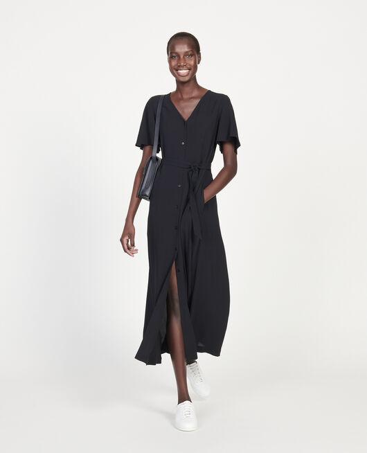 Vestido largo de crepé de viscosa BLACK BEAUTY